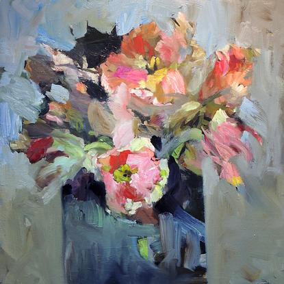 (CreativeWork) Tulips.... by Ray Saunderson. Oil. Shop online at Bluethumb.