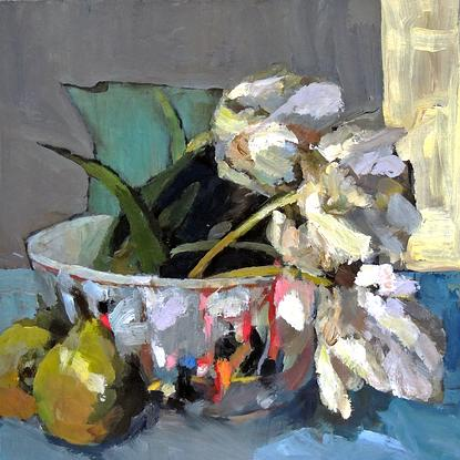 (CreativeWork) Tulips in a Chinese bowl by Ray Saunderson. Oil. Shop online at Bluethumb.