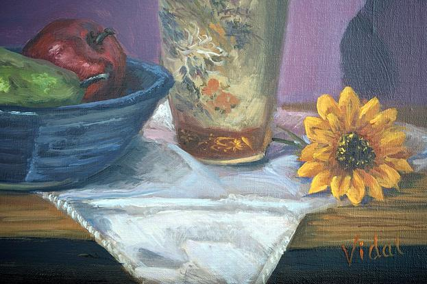 (CreativeWork) Sunflowers - still life  by Christopher Vidal. Oil. Shop online at Bluethumb.