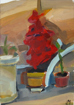 (CreativeWork) Red flower by the studio by Liza Merkalova. Oil. Shop online at Bluethumb.