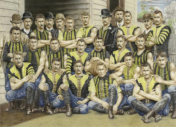 My full colour depictions of the early years of Australian rules football breath life into the black and white record of the past.