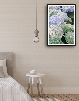 Have Faith in A Sunny Place - Premium Hydrangea. - <br> *This artwork is also the demonstration painting on my solo exhibition - Bloom Like Flowers - 1st - 28th Sept 2019 ,Upper Ferntree Gully , Melbourne.* <br> This is a reproduction of my latest original acrylic painting on canvas -Have Faith in A Sunny Place- Premium Hydrangea. - <br> Artwork size - 82.1 X 55.1 X 0.1 cm Overall Size- 84.1 x 59.4 x 0.1 cm ( border included) <br> Also in a standard A1 size, should be able to fit in any A1 size frame you have easily. LIMITED EDITION Giclée print on 310gsm textured paper. All prints are individually signed , numbered, and comes with a certificate of authenticity. <br> Original painting info : <br> 02/10/2019 Artist Acrylic on Premium quality triple primed gesso canvas. Sealed with clear spray varnish. Sign at front, sides painted black and ready to hang. D-rings and wire attached at the back. Comes with certificate of authenticity. 76cm (W) x 51cm (H) x 4cm (D) By HSIN LIN <br> Affirmation: Having faith in sunny days, anything is possible. <br> Hydrangea symbolise heartfelt feelings, whether of joy or sadness. With its wooden stems and lacy, star-shaped flowers packed together in a pompom. The blossoms are treasured for both their grace and delicacy and are the flower symbol of the fourth wedding anniversary. The hydrangea's color is varied. Purple hydrangeas symbolise a desire to deeply understand someone. <br> This special species that I encounter is cityline, with the delicate frill around the edge of the petals. Light purple, faint blue and soft green mixed on the blooms in perfect harmony. I have had a wonderful time observing this beautiful hydrangea shrub closely, it reminds me of happiness. The scene is a pure bliss to enjoy. <br> I've started this particular painting 6 months ago, painting and studying the intricate details almost every day I can, also have the honour to demonstrate on my solo exhibition – Bloom Like Flowers, held by Knox City Council, and h