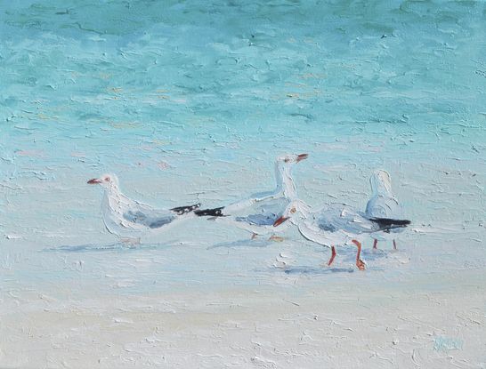 (CreativeWork) SEAGULLS - A MEETING OF MINDS by Jan Matson. Oil. Shop online at Bluethumb.