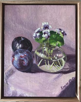 Native Violets & plums on purple cloth