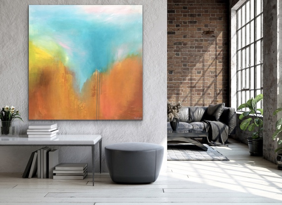 (CreativeWork) Daydream - Large Abstract Art by Emma Wreyford. Acrylic. Shop online at Bluethumb.