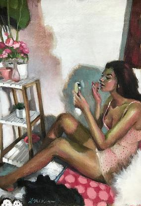 (CreativeWork) Putting On Lipstick by LAURIE MCKERN. Oil. Shop online at Bluethumb.