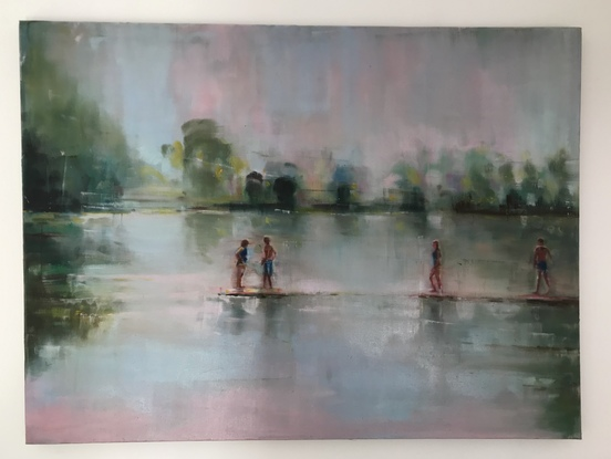 (CreativeWork) Dreamers by Sara Roberts. Oil. Shop online at Bluethumb.
