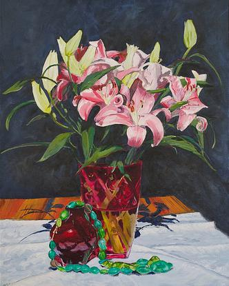 (CreativeWork) Green Beads and Lilies by Fiona Smith. Acrylic. Shop online at Bluethumb.