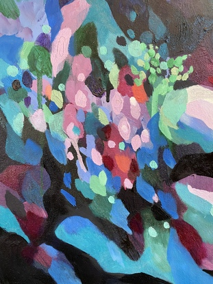 (CreativeWork) Hills Exploring by Nicole Black. Oil. Shop online at Bluethumb.