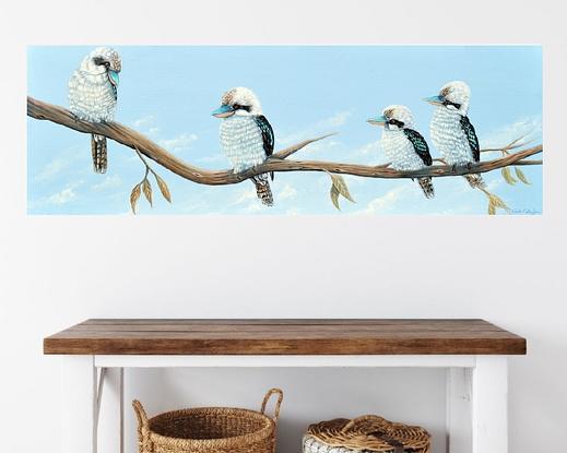 (CreativeWork) Kookaburra Hangout by Linda Callaghan. Acrylic. Shop online at Bluethumb.