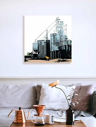 (CreativeWork) Tin Town by Karen Bloomfield. Oil. Shop online at Bluethumb.