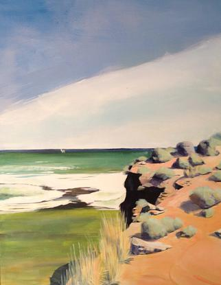 (CreativeWork) DIMMOCKS BEACH  by Paul Harbour. Acrylic. Shop online at Bluethumb.