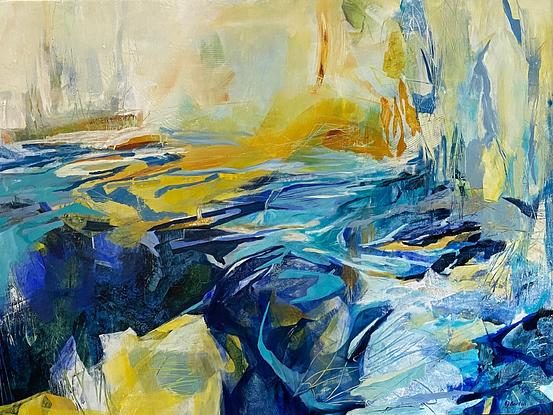 abstract of being on the water looking toward land