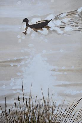 (CreativeWork) River morning by John Barcham. Oil. Shop online at Bluethumb.