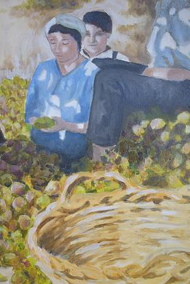 (CreativeWork) The Fig Harvesters, Sicily  by John Barcham. Oil. Shop online at Bluethumb.