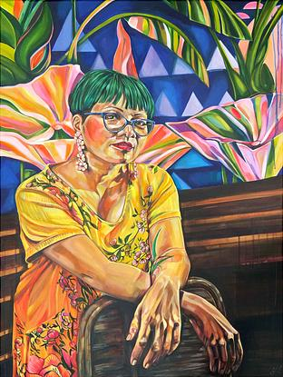 (CreativeWork) Maggie with my Cafe Omai Mural by Tamara Armstrong. Acrylic. Shop online at Bluethumb.