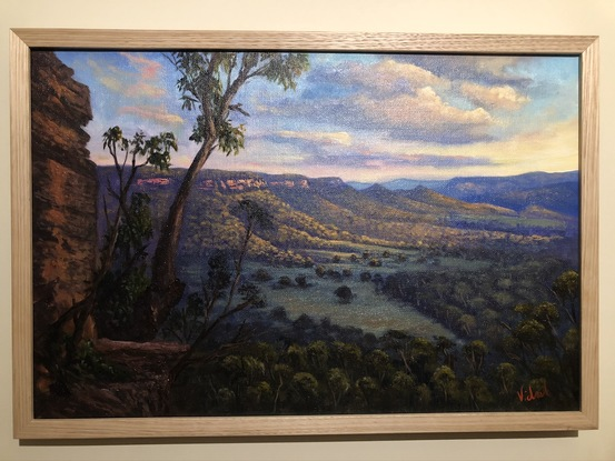 (CreativeWork) A view on Kanimbla Valley from Mt Victoria by Christopher Vidal. Oil. Shop online at Bluethumb.