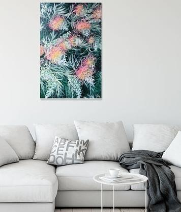 LIMITED EDITION Giclée print on stretched canvas – 55 X 82.3 X 1.8 cm ready to hang. All prints are individually signed , numbered, and comes with a certificate of authenticity. <br> Original painting info : Courageous Love - Grevillea Peaches and Cream  By HSIN LIN <br> 60.9cm (W) x 91.4cm (H) x 3.5cm (D) 12/02/2020 Acrylic on Acid free Gesso primed Canvas  Ready to hang  Side panel painted: Black <br> Affirmation - Brave to be bold, to be different and born to be yourself. <br> Grevillea - primarily native to Australia, are evergreen shrubs or trees of great beauty with needle-like to fern-like foliage and incredibly flamboyant flowers.  It has magnificent flowers in varied shapes and forms. Most have long flowering periods. The species I encountered in my neighbourhood is peaches and cream- has the most stunning, harmonic greenish- yellowy -pinkish colour hue. <br> In this painting, the flowers stand out gloriously from the leaves at the background.  It is one of my favourite trees. I adore the beauty of it every day I walk into the woods.  The bloom of it stands for Boldness, Strength and Courage.  Exactly what I would like to express in this piece. <br> -WILD BOTANICAL ABSTRACT SERIES 2020 by H.Lin- <br> Artwork inspired by nature at Bayswater, Melbourne, Victoria, End of Summer, 2020. -HSIN LIN <br> Enjoy the time lapse video of this artwork please visit : https://youtu.be/KDlI4qFd59Y <br> 10th July -1st August 2021 Camberwell Art Show