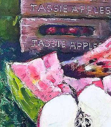 Apples, mushrooms etc  displade in a colourfull  artistic  way