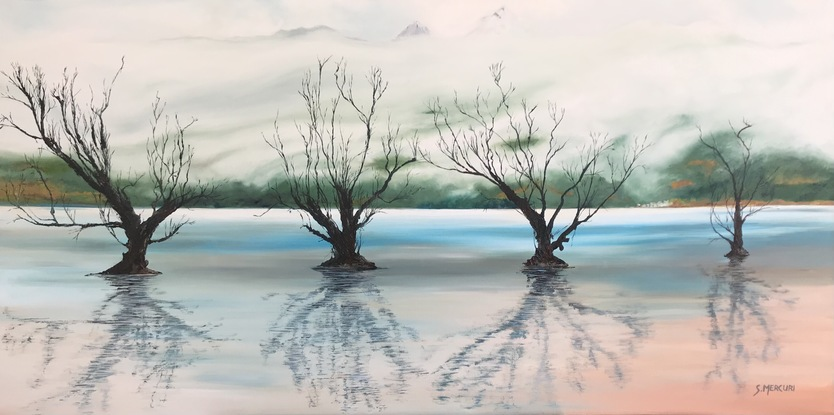 (CreativeWork) The Willows - Glenorchy NZ by Susan Mercuri. Oil. Shop online at Bluethumb.
