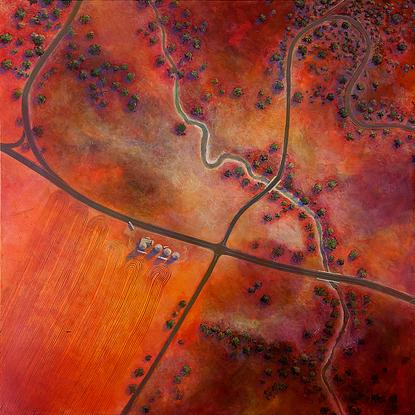 (CreativeWork) Red Earth Farming by Pete Martin. Acrylic. Shop online at Bluethumb.