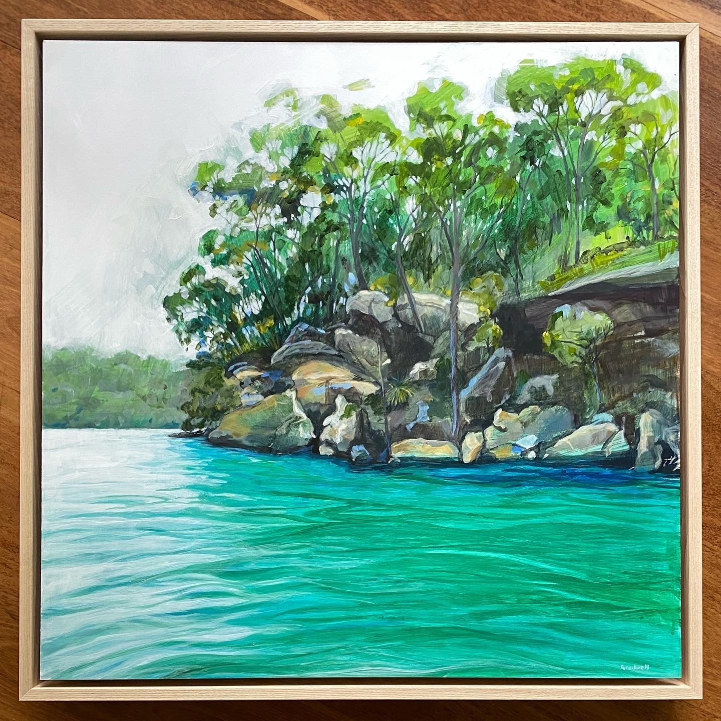 Shades of green in the trees and in the water